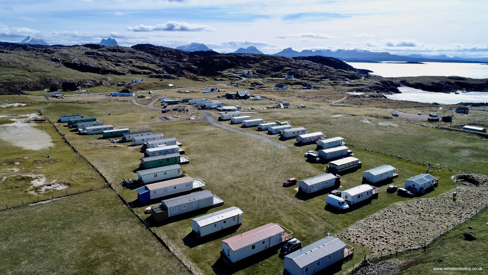 overhead view of Clachtoll Holidays caravan park looking southward