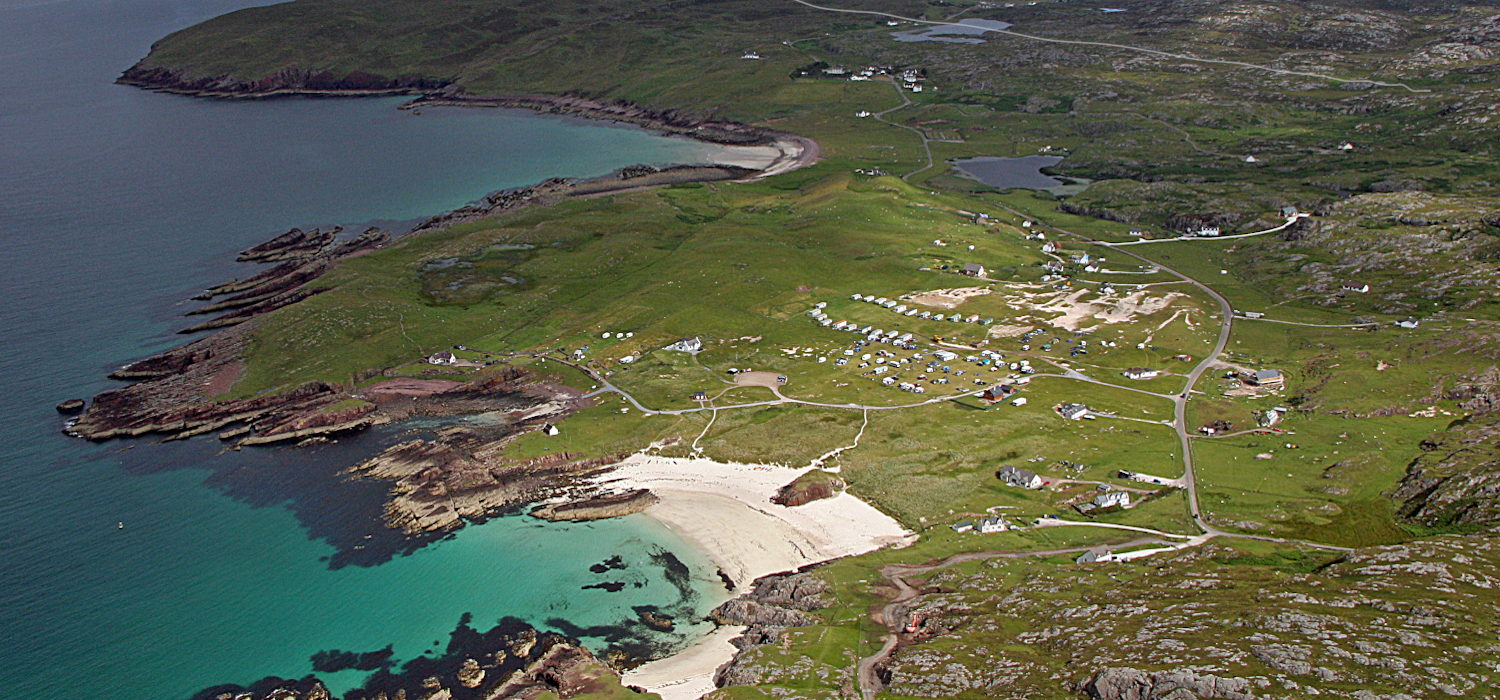 aerial view of Clachtoll Caravan Park and beach