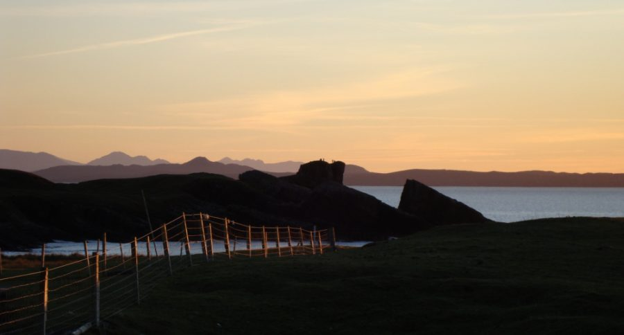 sunset over the split rock